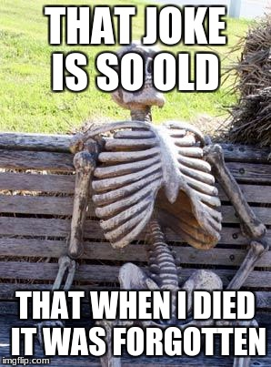 Waiting Skeleton Meme | THAT JOKE IS SO OLD THAT WHEN I DIED IT WAS FORGOTTEN | image tagged in memes,waiting skeleton | made w/ Imgflip meme maker