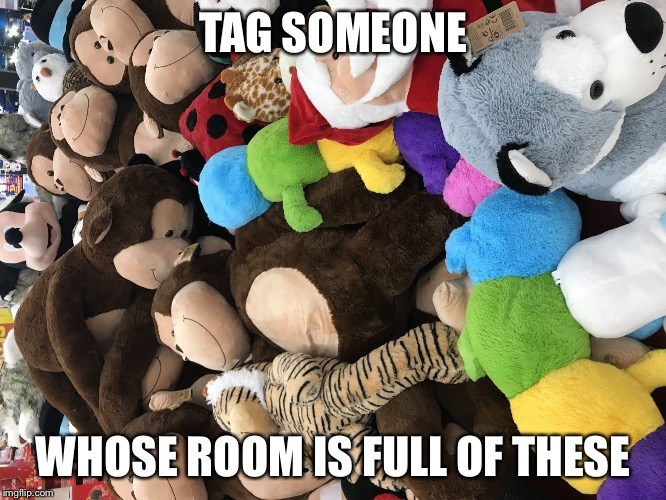 Stuffed animals | TAG SOMEONE WHOSE ROOM IS FULL OF THESE | image tagged in stuffed animals | made w/ Imgflip meme maker