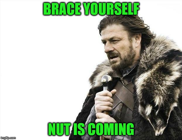 Brace Yourselves X is Coming Meme | BRACE YOURSELF NUT IS COMING | image tagged in memes,brace yourselves x is coming | made w/ Imgflip meme maker