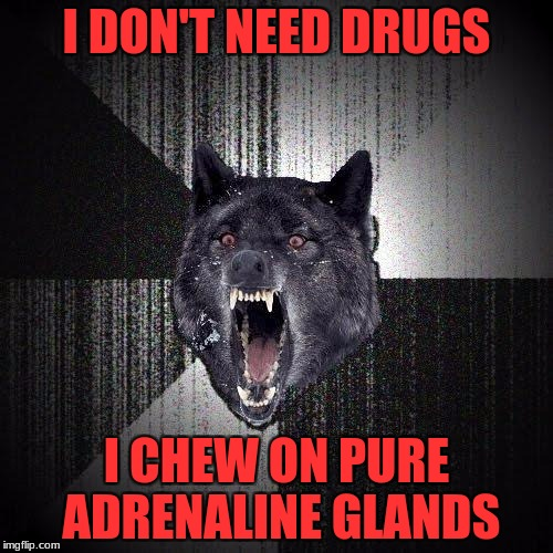 Insanity Wolf Meme | I DON'T NEED DRUGS I CHEW ON PURE ADRENALINE GLANDS | image tagged in memes,insanity wolf | made w/ Imgflip meme maker