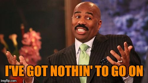 Steve Harvey Meme | I'VE GOT NOTHIN' TO GO ON | image tagged in memes,steve harvey | made w/ Imgflip meme maker