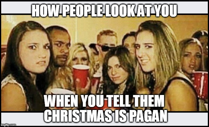 Celebrating Christian events with pagan traditions is not how to celebrate Christian events! | HOW PEOPLE LOOK AT YOU WHEN YOU TELL THEM CHRISTMAS IS PAGAN | image tagged in christmas,people,pagan,anti-religion | made w/ Imgflip meme maker