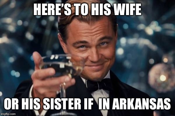 Leonardo Dicaprio Cheers Meme | HERE'S TO HIS WIFE OR HIS SISTER IF  IN ARKANSAS | image tagged in memes,leonardo dicaprio cheers | made w/ Imgflip meme maker