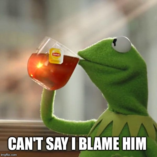 But Thats None Of My Business Meme | CAN'T SAY I BLAME HIM | image tagged in memes,but thats none of my business,kermit the frog | made w/ Imgflip meme maker
