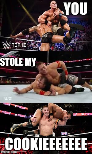 YOU COOKIEEEEEEE STOLE MY | image tagged in wwe | made w/ Imgflip meme maker