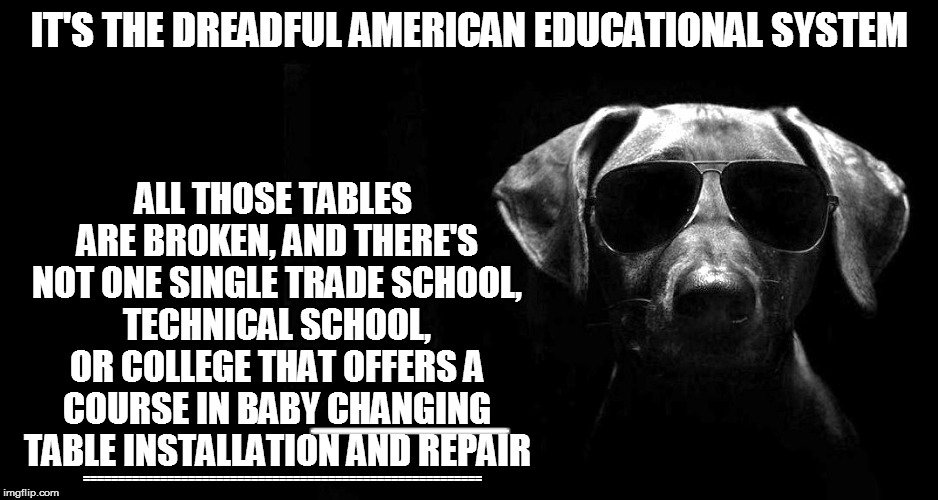 IT'S THE DREADFUL AMERICAN EDUCATIONAL SYSTEM ALL THOSE TABLES ARE BROKEN, AND THERE'S NOT ONE SINGLE TRADE SCHOOL, TECHNICAL SCHOOL, OR COL | made w/ Imgflip meme maker