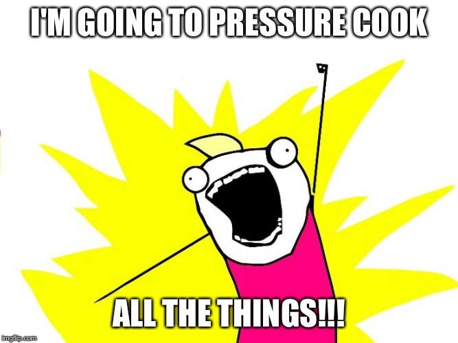 Do all the things |  I'M GOING TO PRESSURE COOK; ALL THE THINGS!!! | image tagged in do all the things | made w/ Imgflip meme maker