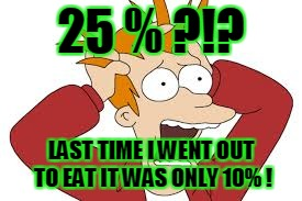 25 % ?!? LAST TIME I WENT OUT TO EAT IT WAS ONLY 10% ! | made w/ Imgflip meme maker