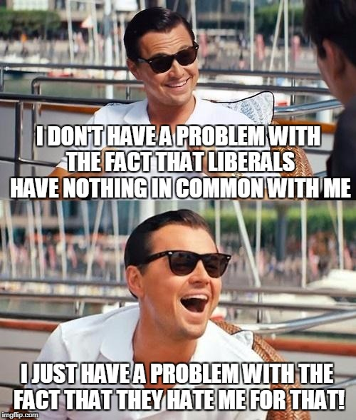 I Wish Liberals Would Live And Let Live | I DON'T HAVE A PROBLEM WITH THE FACT THAT LIBERALS HAVE NOTHING IN COMMON WITH ME I JUST HAVE A PROBLEM WITH THE FACT THAT THEY HATE ME FOR  | image tagged in memes,leonardo dicaprio wolf of wall street | made w/ Imgflip meme maker