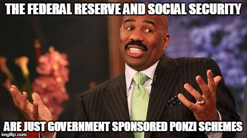 Steve Harvey Meme | THE FEDERAL RESERVE AND SOCIAL SECURITY ARE JUST GOVERNMENT SPONSORED PONZI SCHEMES | image tagged in memes,steve harvey | made w/ Imgflip meme maker