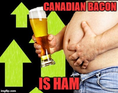 beer belly up vote | CANADIAN BACON IS HAM | image tagged in beer belly up vote | made w/ Imgflip meme maker