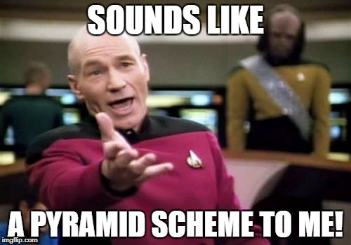 Picard Wtf Meme | SOUNDS LIKE A PYRAMID SCHEME TO ME! | image tagged in memes,picard wtf | made w/ Imgflip meme maker