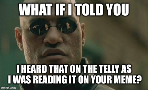Matrix Morpheus Meme | WHAT IF I TOLD YOU I HEARD THAT ON THE TELLY AS I WAS READING IT ON YOUR MEME? | image tagged in memes,matrix morpheus | made w/ Imgflip meme maker