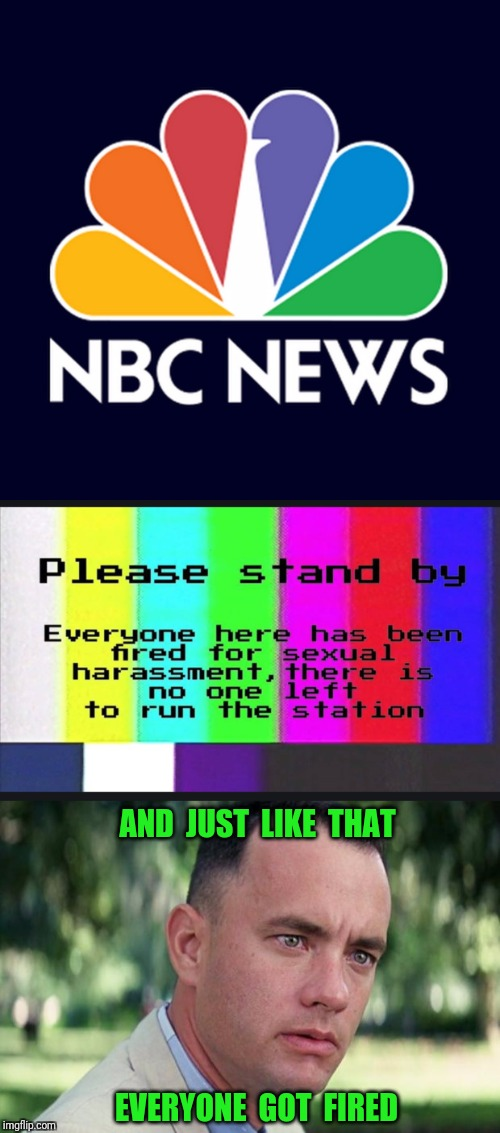 Sign of the times. |  AND  JUST  LIKE  THAT; EVERYONE  GOT  FIRED | image tagged in nbc,nbc news,matt lauer,sexual harassment | made w/ Imgflip meme maker
