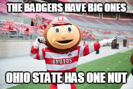 OSU vs Wisconsin | THE BADGERS HAVE BIG ONES OHIO STATE HAS ONE NUT | image tagged in ohio state buckeyes | made w/ Imgflip meme maker