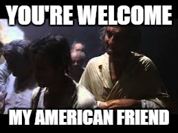 YOU'RE WELCOME MY AMERICAN FRIEND | made w/ Imgflip meme maker