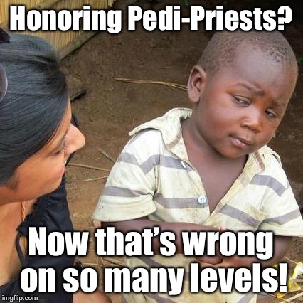 Third World Skeptical Kid Meme | Honoring Pedi-Priests? Now that's wrong on so many levels! | image tagged in memes,third world skeptical kid | made w/ Imgflip meme maker