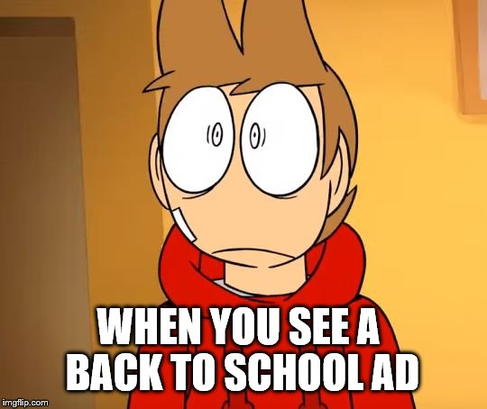 WHEN YOU SEE A BACK TO SCHOOL AD | image tagged in eddsworld | made w/ Imgflip meme maker