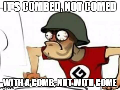 Grammer Nazi | IT'S COMBED, NOT COMED WITH A COMB, NOT WITH COME | image tagged in grammer nazi | made w/ Imgflip meme maker