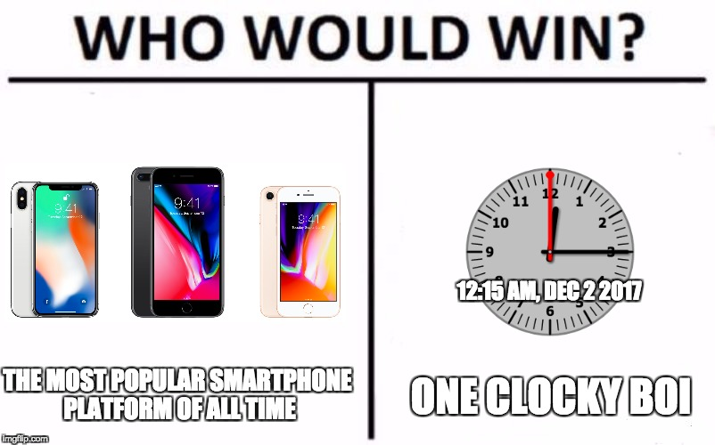 Who Would Win? Meme | THE MOST POPULAR SMARTPHONE PLATFORM OF ALL TIME ONE CLOCKY BOI 12:15 AM, DEC 2 2017 | image tagged in who would win | made w/ Imgflip meme maker