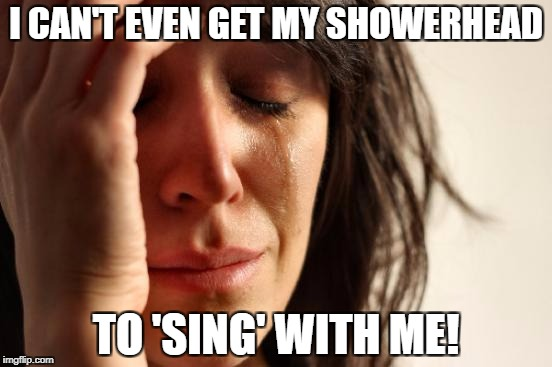 First World Problems Meme | I CAN'T EVEN GET MY SHOWERHEAD TO 'SING' WITH ME! | image tagged in memes,first world problems | made w/ Imgflip meme maker