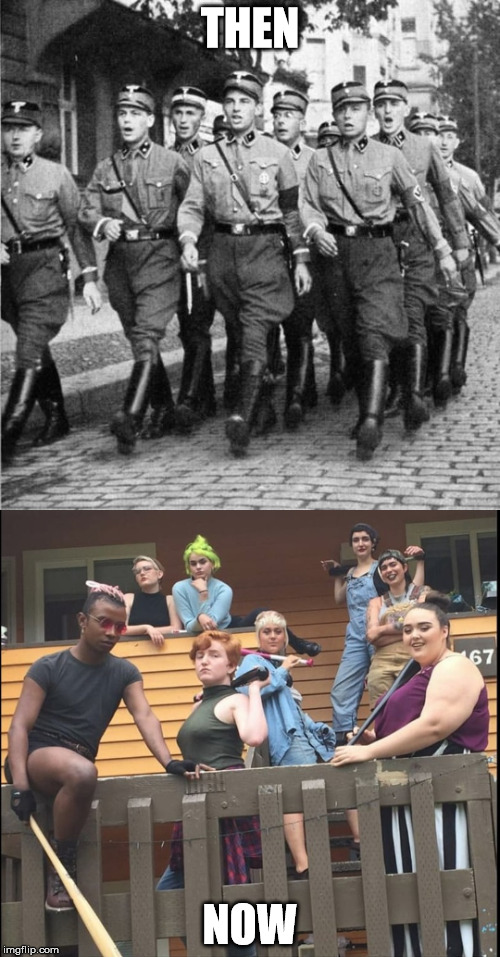 Then & Now. | THEN NOW | image tagged in feminism | made w/ Imgflip meme maker