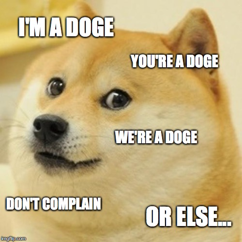 Doge Meme | I'M A DOGE YOU'RE A DOGE WE'RE A DOGE DON'T COMPLAIN OR ELSE... | image tagged in memes,doge | made w/ Imgflip meme maker