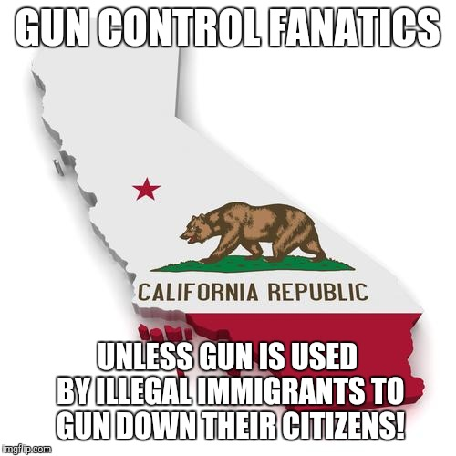 California | GUN CONTROL FANATICS UNLESS GUN IS USED BY ILLEGAL IMMIGRANTS TO GUN DOWN THEIR CITIZENS! | image tagged in california | made w/ Imgflip meme maker