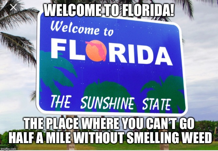 WELCOME TO FLORIDA! THE PLACE WHERE YOU CAN'T GO HALF A MILE WITHOUT SMELLING WEED | image tagged in made in china | made w/ Imgflip meme maker