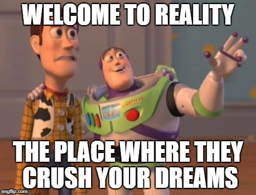 have you any crushed dream by reality? | WELCOME TO REALITY THE PLACE WHERE THEY CRUSH YOUR DREAMS | image tagged in memes,x x everywhere | made w/ Imgflip meme maker