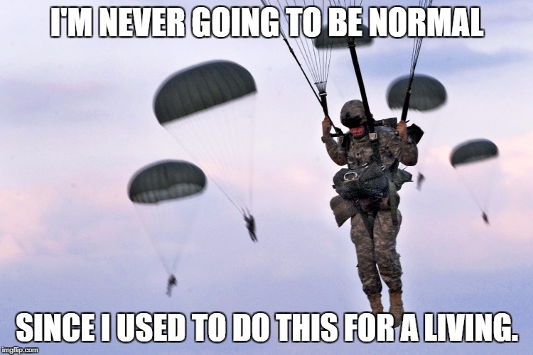 I'M NEVER GOING TO BE NORMAL SINCE I USED TO DO THIS FOR A LIVING. | image tagged in paratroopers | made w/ Imgflip meme maker