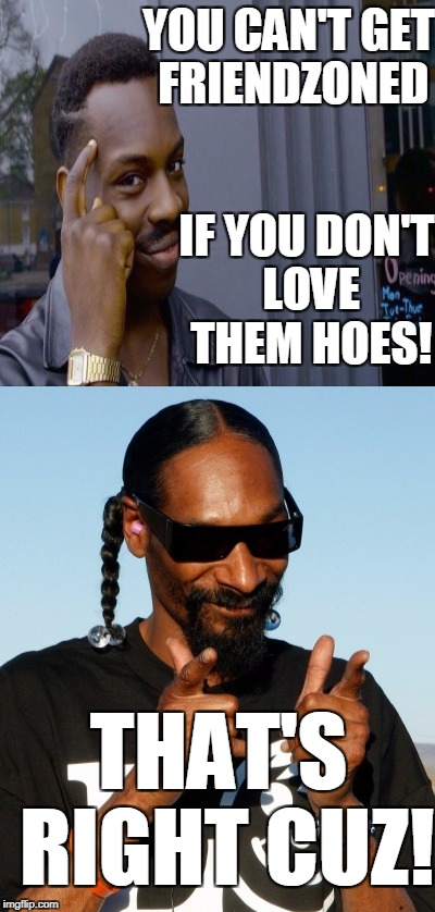 Relationship advice from Roll Safe and Snoop. | YOU CAN'T GET FRIENDZONED THAT'S RIGHT CUZ! IF YOU DON'T LOVE THEM HOES! | image tagged in just think about it,snoop dog,friendzone,relationship,advice,memes | made w/ Imgflip meme maker