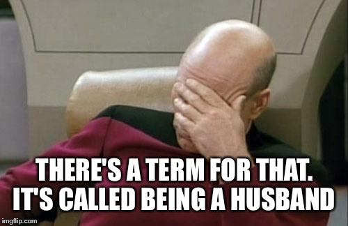 Captain Picard Facepalm Meme | THERE'S A TERM FOR THAT. IT'S CALLED BEING A HUSBAND | image tagged in memes,captain picard facepalm | made w/ Imgflip meme maker