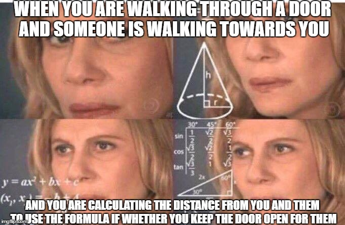 i always close the door and run | WHEN YOU ARE WALKING THROUGH A DOOR AND SOMEONE IS WALKING TOWARDS YOU AND YOU ARE CALCULATING THE DISTANCE FROM YOU AND THEM TO USE THE FOR | image tagged in math lady/confused lady,funny,relatable,memes | made w/ Imgflip meme maker