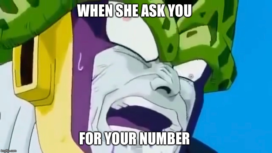 When she asks for your number  | WHEN SHE ASK YOU FOR YOUR NUMBER | image tagged in dragon ball z,dragon ball super,anime | made w/ Imgflip meme maker