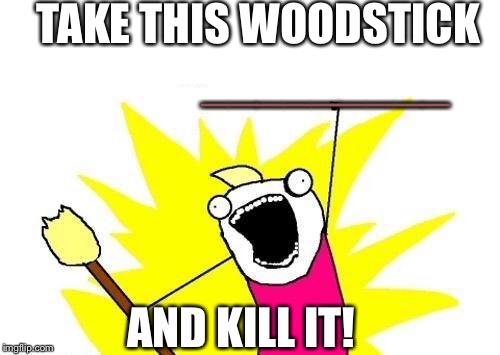 X All The Y Meme | TAKE THIS WOODSTICK AND KILL IT! _________ | image tagged in memes,x all the y | made w/ Imgflip meme maker