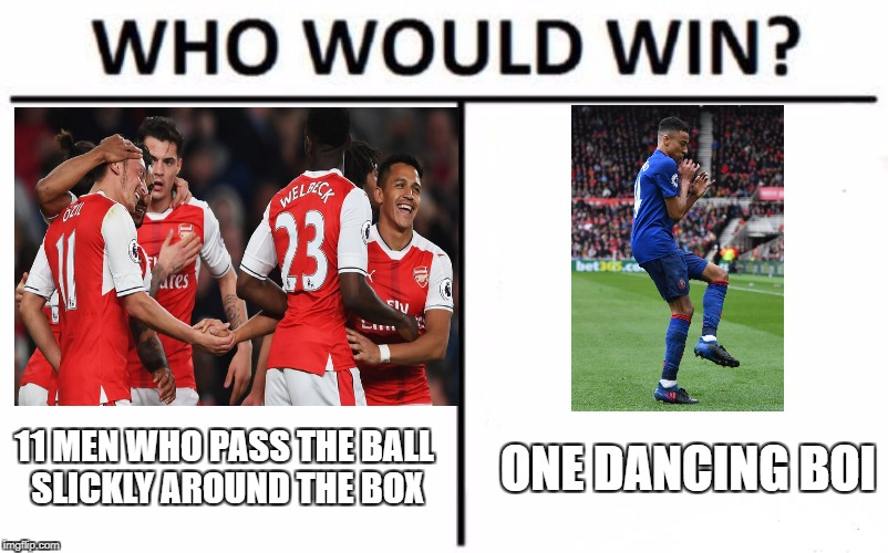 Who Would Win? Meme | 11 MEN WHO PASS THE BALL SLICKLY AROUND THE BOX ONE DANCING BOI | image tagged in who would win | made w/ Imgflip meme maker