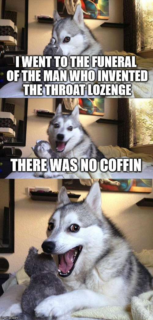 Bad Pun Dog Meme | I WENT TO THE FUNERAL OF THE MAN WHO INVENTED THE THROAT LOZENGE THERE WAS NO COFFIN | image tagged in memes,bad pun dog | made w/ Imgflip meme maker