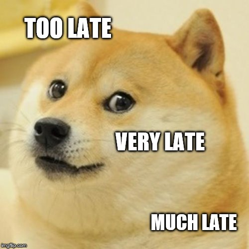Doge Meme | TOO LATE VERY LATE MUCH LATE | image tagged in memes,doge | made w/ Imgflip meme maker
