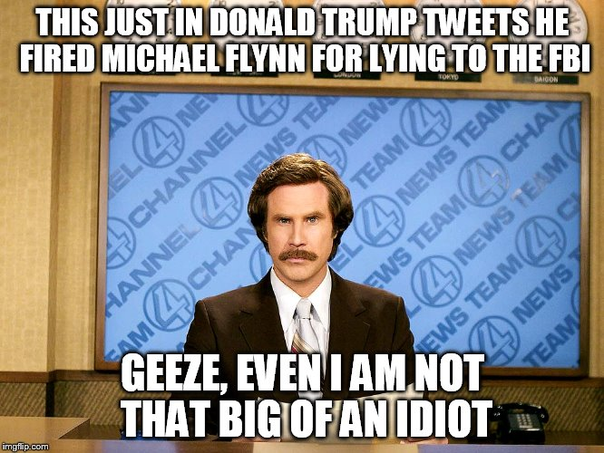 Ron Burgandy | THIS JUST IN DONALD TRUMP TWEETS HE FIRED MICHAEL FLYNN FOR LYING TO THE FBI GEEZE, EVEN I AM NOT THAT BIG OF AN IDIOT | image tagged in ron burgandy | made w/ Imgflip meme maker