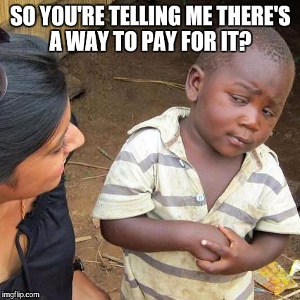 Third World Skeptical Kid Meme | SO YOU'RE TELLING ME THERE'S A WAY TO PAY FOR IT? | image tagged in memes,third world skeptical kid | made w/ Imgflip meme maker