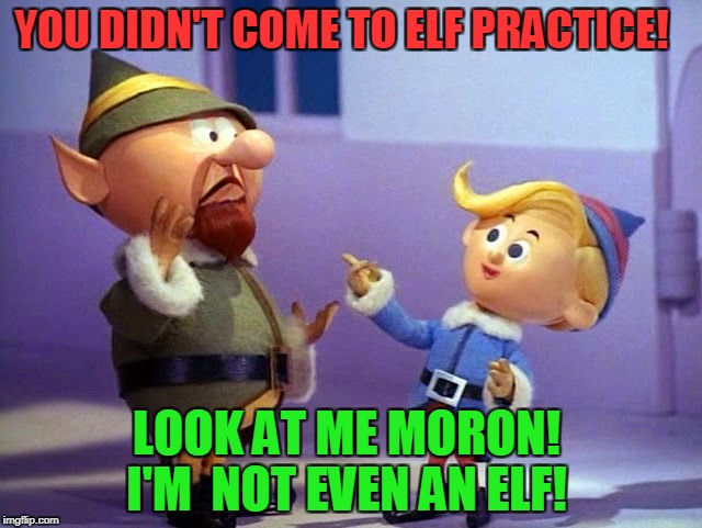 Rudolph elvs | YOU DIDN'T COME TO ELF PRACTICE! LOOK AT ME MORON! I'M  NOT EVEN AN ELF! | image tagged in rudolph elvs | made w/ Imgflip meme maker
