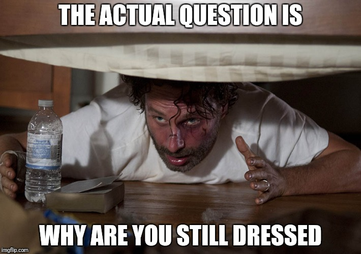 The Walking Dead Bed | THE ACTUAL QUESTION IS WHY ARE YOU STILL DRESSED | image tagged in the walking dead bed | made w/ Imgflip meme maker
