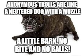 A Tribute to our Trolls - an ongoing event. | ANONYMOUS TROLLS ARE LIKE A NEUTERED DOG WITH A MUZZLE A LITTLE BARK, NO BITE AND NO BALLS! | image tagged in trolls,burn,stupid,dog | made w/ Imgflip meme maker