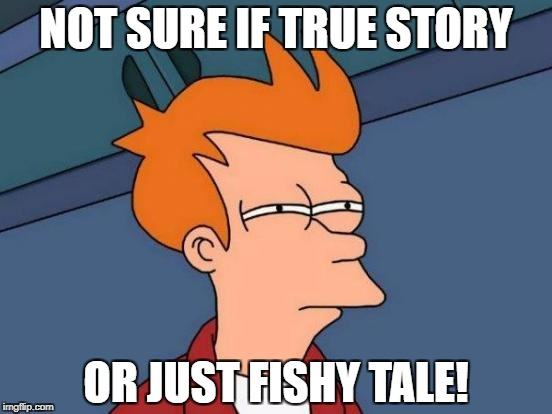 Futurama Fry Meme | NOT SURE IF TRUE STORY OR JUST FISHY TALE! | image tagged in memes,futurama fry | made w/ Imgflip meme maker