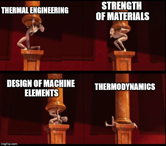 THERMODYNAMICS STRENGTH OF MATERIALS DESIGN OF MACHINE ELEMENTS THERMAL ENGINEERING | image tagged in burdens from despicable me | made w/ Imgflip meme maker