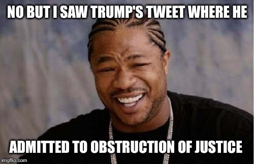 Yo Dawg Heard You Meme | NO BUT I SAW TRUMP'S TWEET WHERE HE ADMITTED TO OBSTRUCTION OF JUSTICE | image tagged in memes,yo dawg heard you | made w/ Imgflip meme maker