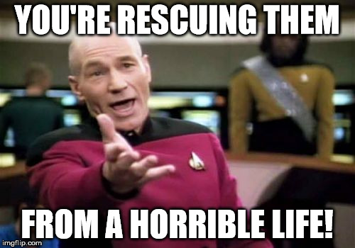 Picard Wtf Meme | YOU'RE RESCUING THEM FROM A HORRIBLE LIFE! | image tagged in memes,picard wtf | made w/ Imgflip meme maker