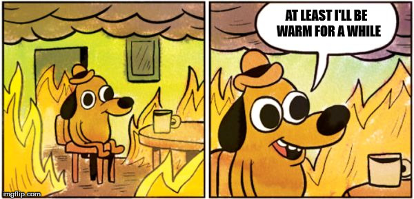 AT LEAST I'LL BE  WARM FOR A WHILE | image tagged in burning dog | made w/ Imgflip meme maker