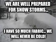 Snow Storm | WE ARE WELL PREPARED FOR SNOW STORMS... I HAVE SO MUCH FABRIC... WE WILL NEVER BE COLD! | image tagged in snow storm | made w/ Imgflip meme maker